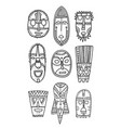 set of hand drawn ethnic masks of the characters vector image
