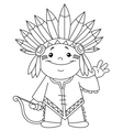 outlined indian kid vector image vector image