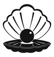 pearl in a sea shell icon simple style vector image