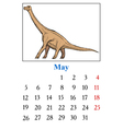 Calendar with dinosaur vector image vector image