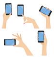 elegant woman hands holding smart phone set vector image