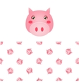 Pig Head Icon And Pattern vector image