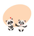 two baby panda characters one pointing to another vector image