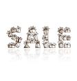 Sale word made from gift boxes for your design vector image vector image
