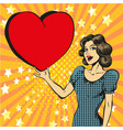 pop art of happy woman in love vector image