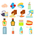 drug types icons set cartoon style vector image