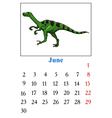 Calendar with dinosaur vector image vector image