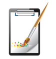 clipboard and paintbrush vector image vector image