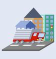 cargo truck flat skew icon vector image
