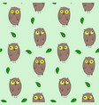 cute hand drawn pattern with owls and leaves vector image