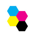 four hexagons in cmyk colors printer theme vector image