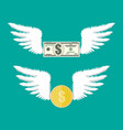 golden coin and dollar bill with wings vector image