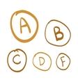 Hand drawn grades set of gold hand drawn vector image