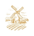 mill and landscape vector image