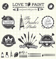 Retro Artist and Painter Labels and Icons vector image