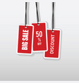 tag of big sale and price off set in red color vector image