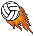 volleyball ball in fire vector image