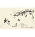 Sketch Fuji mountain pagoda blossoms Japan vector image
