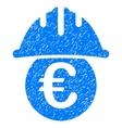 Euro Under Safety Helmet Grainy Texture Icon vector image
