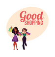 poster banner with two girls women friends vector image