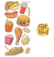 fast food hand drawn menu design with burger vector image