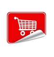 Red sticker trolley vector image
