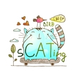 Cat and bird friends skateboarding watercolor hand vector image