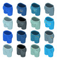 pants pockets design icons set isometric style vector image