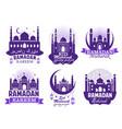 ramadan kareem muslim religion festival symbol set vector image