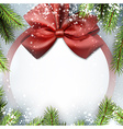 Christmas background with bow and snow vector image
