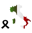 Map of Italy with mourning ribbon vector image