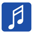 Blue white information sign - musical note icon vector image