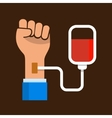 Hand with Blood Bag Donation Icon vector image