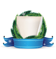 Pine Tree Christmas Wreath and sheet of paper vector image