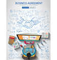 Business Agreement concept wih Doodle design style vector image