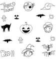 Cute element halloween in doodle vector image