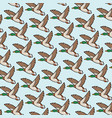 background pattern with mallard duck flying vector image