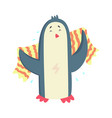 Cute cartoon penguin drying its body with a vector image