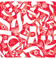 Hebrew Seamless Pattern Red White vector image