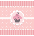 Pink baby background with cupcake vector image