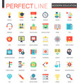 set of flat modern education e-learning vector image