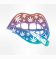 lips with weed joint or tabacco cigarette vector image