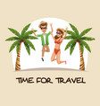 time for travel couple jumping clothes beach palm vector image