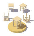 low poly isometric stool vector image