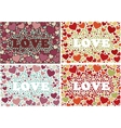 The word love in background with hearts Set of 4 vector image