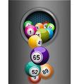 bingo balls falling from a metallic ring vector image