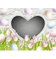 Pink tulips with blank blackboard EPS 10 vector image