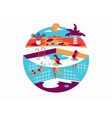 Swimming pool with people on vacation vector image