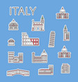 italian traveling labels set in linear style vector image