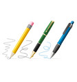 realistic 3d pen and pencil write set vector image